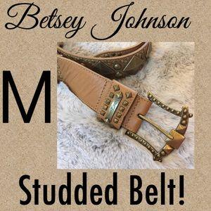 Betsey Johnson Tan Leather Studded Belt
